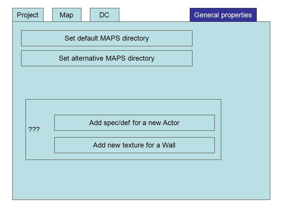 DCProjectMapGeneral properties Set default MAPS directory Set alternative MAPS directory ??? Add spec/def for a new Actor Add new texture for a Wall