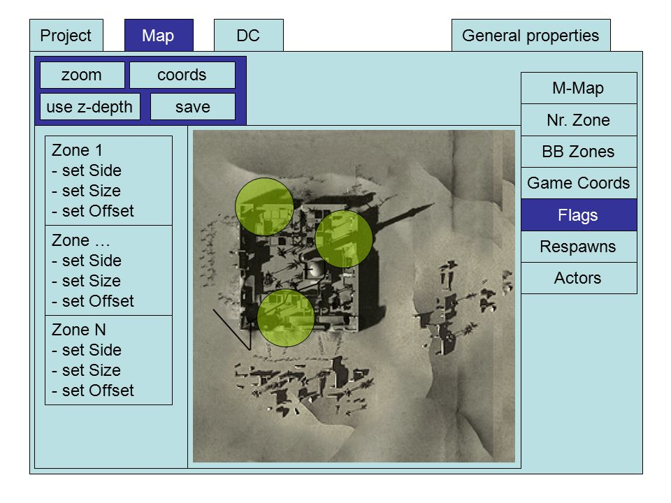 DCProjectMapGeneral properties M-Map zoomcoords use z-depthsave BB Zones Game Coords Respawns Flags Actors Nr.