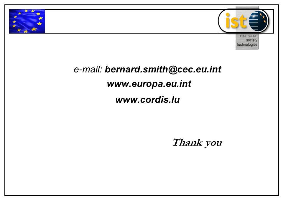e-mail: bernard.smith@cec.eu.int www.europa.eu.int www.cordis.lu Thank you