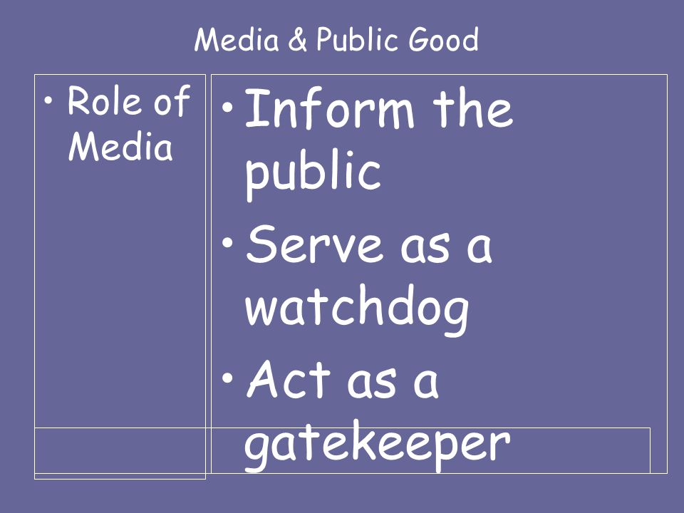 Media & Public Good Role of Media Inform the public Serve as a watchdog Act as a gatekeeper