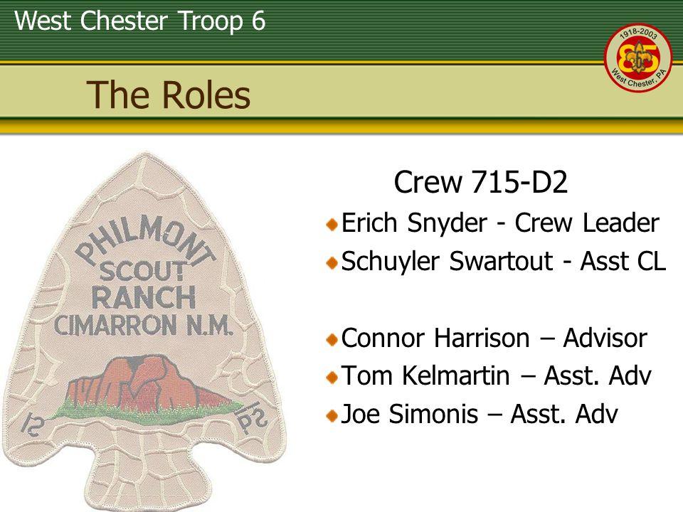 West Chester Troop 6 The Roles Crew 715-D2 Erich Snyder - Crew Leader Schuyler Swartout - Asst CL Connor Harrison – Advisor Tom Kelmartin – Asst.