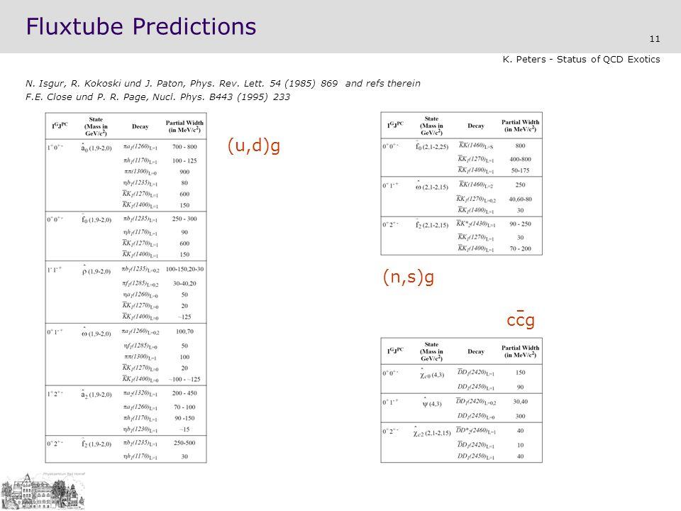 11 K.Peters - Status of QCD Exotics Fluxtube Predictions N.
