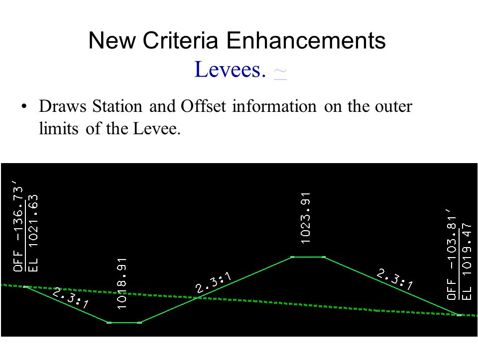 New Criteria Enhancements Levees. ~~ Draws Station and Offset information on the outer limits of the Levee.