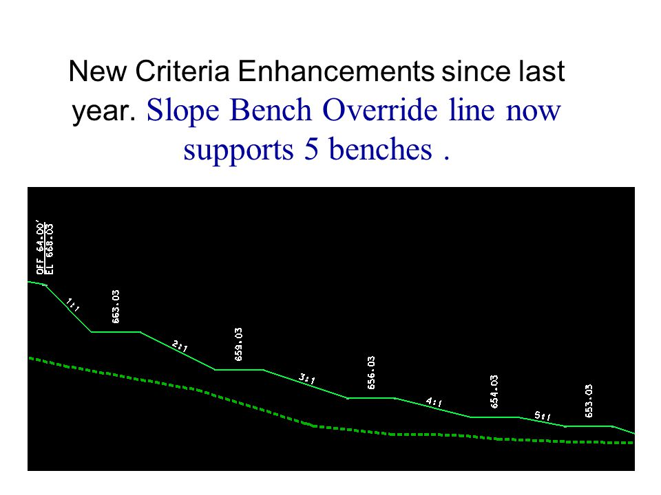 New Criteria Enhancements since last year. Slope Bench Override line now supports 5 benches.