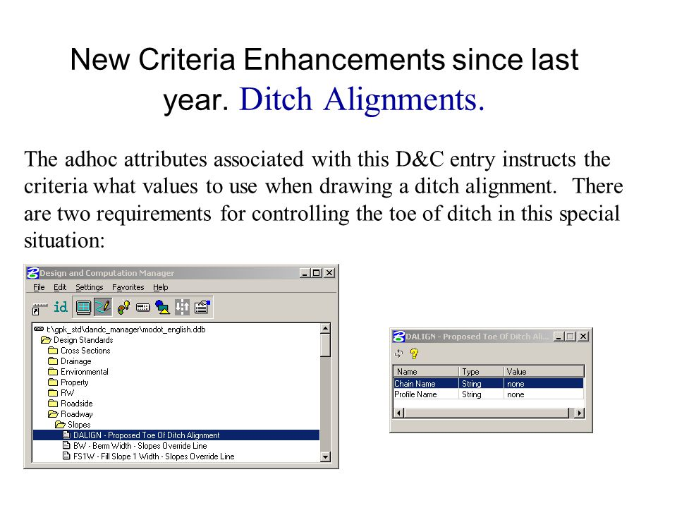 Live Demo T:\de-proj\D\Typicals3\data\pattern_shape.dgn Chain and Profile Name = Ditch2 New Criteria Enhancements since last year.