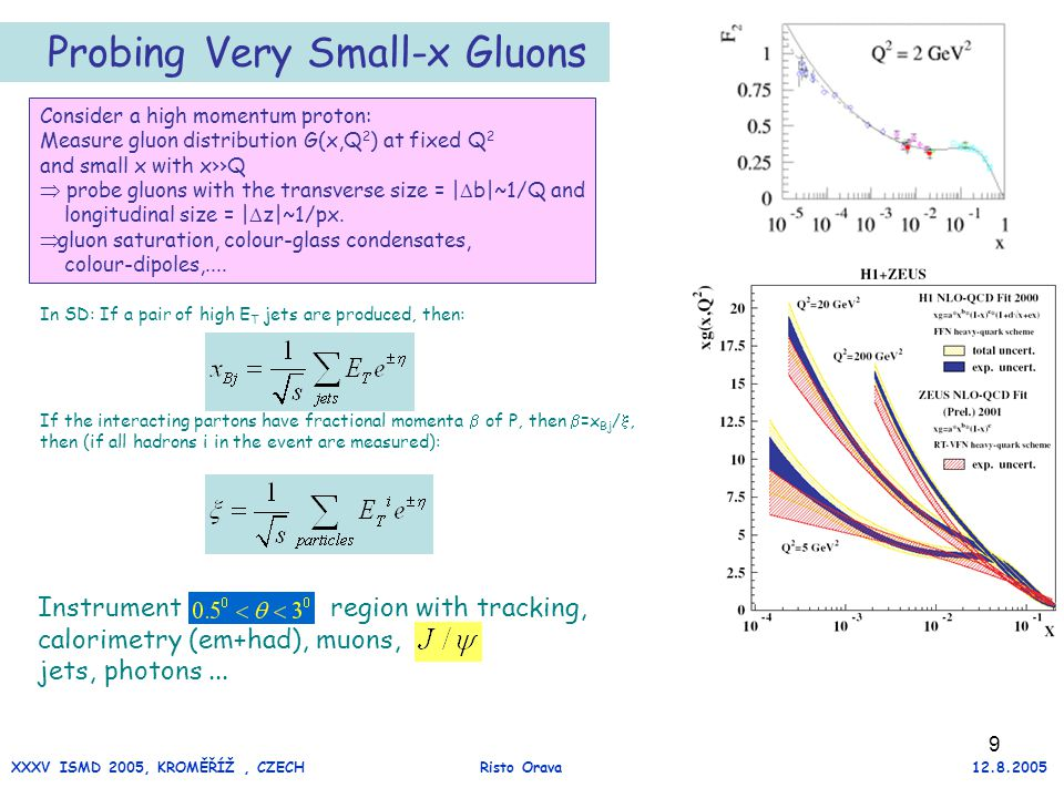 9 Probing Very Small-x Gluons Instrument region with tracking, calorimetry (em+had), muons, jets, photons...