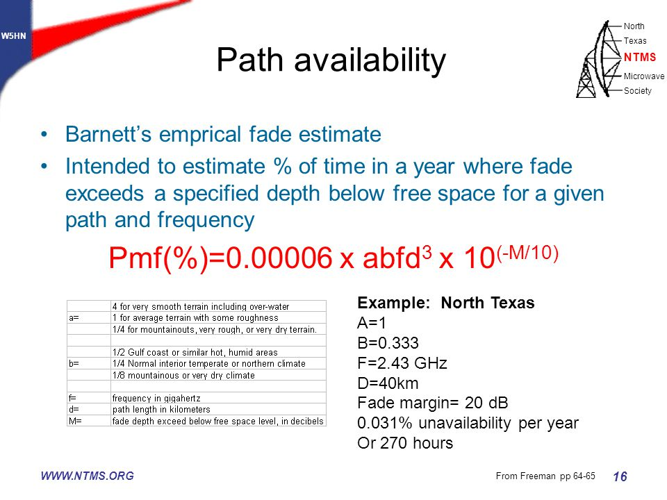 W5HN North Texas Microwave Society NTMS WWW.NTMS.ORG 16 Path availability Barnett's emprical fade estimate Intended to estimate % of time in a year where fade exceeds a specified depth below free space for a given path and frequency Pmf(%)=0.00006 x abfd 3 x 10 (-M/10) Example: North Texas A=1 B=0.333 F=2.43 GHz D=40km Fade margin= 20 dB 0.031% unavailability per year Or 270 hours From Freeman pp 64-65