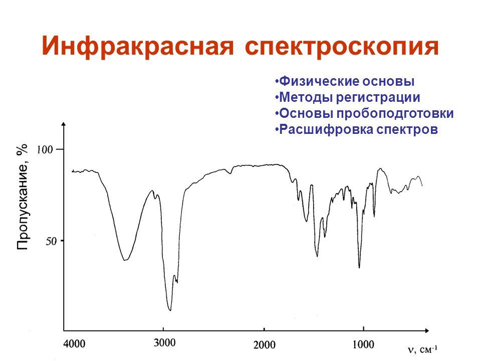 1 Инфракрасная спектроскопия Физические основы Методы регистрации Основы пробоподготовки Расшифровка спектров