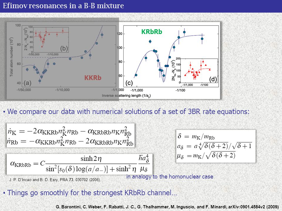 Efimov resonances in a B-B mixture We compare our data with numerical solutions of a set of 3BR rate equations: G.