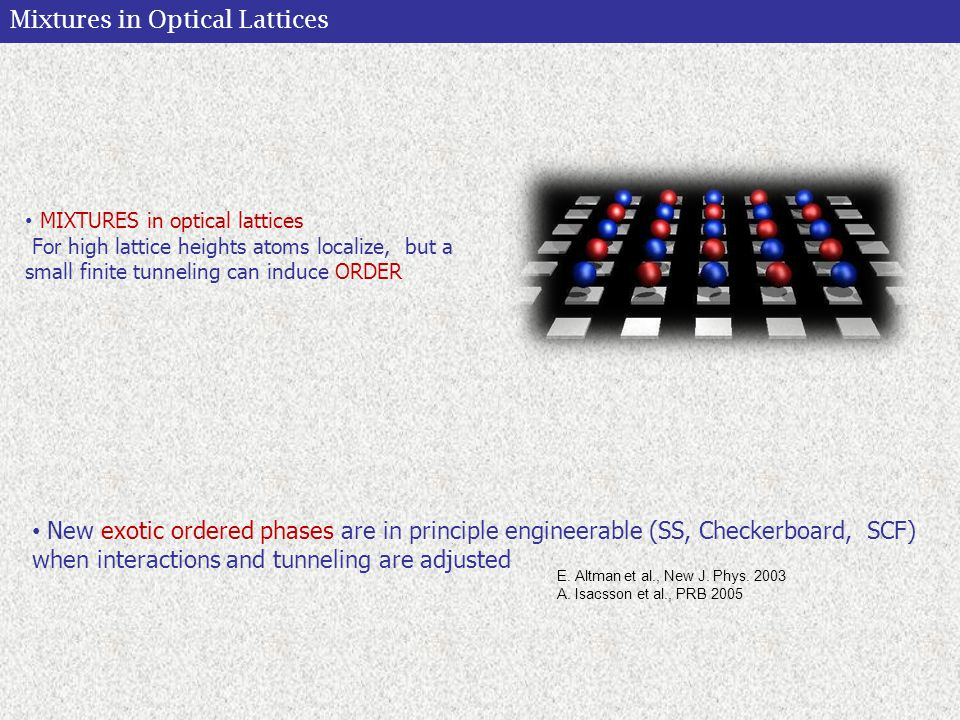 Mixtures in Optical Lattices Atoms in OL represent a unique testbench for fundamental physical concepts coming from different research areas (crystals, solid state, quantum computing, atom-optics) New exotic ordered phases are in principle engineerable (SS, Checkerboard, SCF) when interactions and tunneling are adjusted MIXTURES in optical lattices For high lattice heights atoms localize, but a small finite tunneling can induce ORDER E.