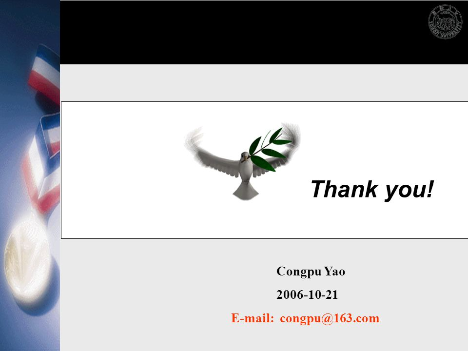 Thank you! Congpu Yao 2006-10-21 E-mail: congpu@163.com