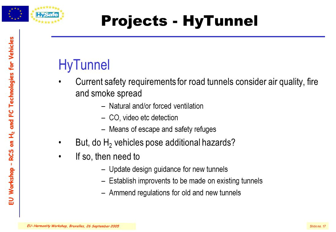 EU Workshop – RCS on H 2 and FC Technologies for Vehicles Slide no. 17 EU-HarmonHy Workshop, Bruxelles, 26 September 2005 Projects - HyTunnel HyTunnel