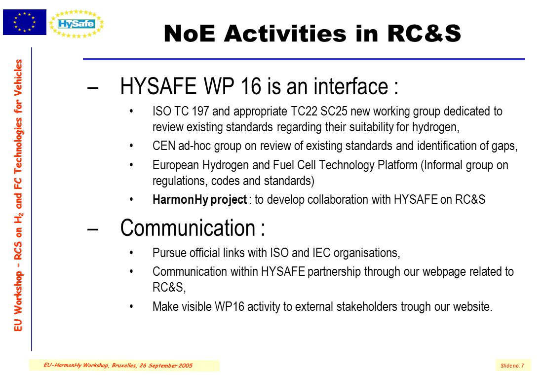 EU Workshop – RCS on H 2 and FC Technologies for Vehicles Slide no. 7 EU-HarmonHy Workshop, Bruxelles, 26 September 2005 NoE Activities in RC&S –HYSAF
