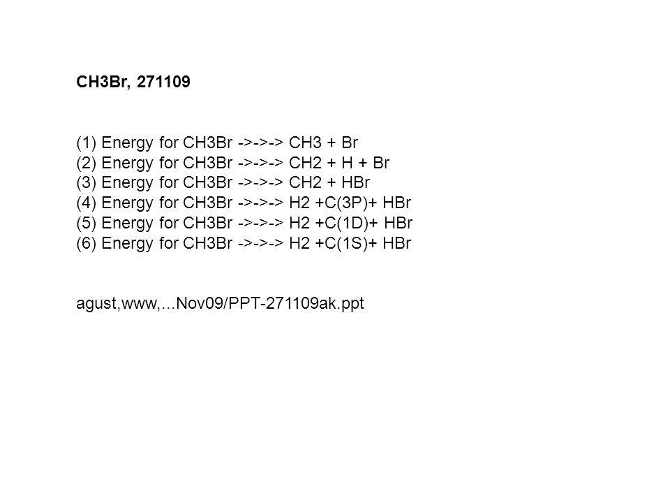 CH3Br, 271109 (1)Energy for CH3Br ->->-> CH3 + Br (2)Energy for CH3Br ->->-> CH2 + H + Br (3)Energy for CH3Br ->->-> CH2 + HBr (4)Energy for CH3Br ->-