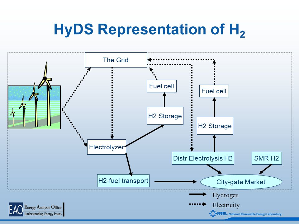 HyDS Representation of H 2 Electrolyzer H2 Storage H2-fuel transport Fuel cell The Grid Distr Electrolysis H2SMR H2 City-gate Market Fuel cell H2 Storage Hydrogen Electricity