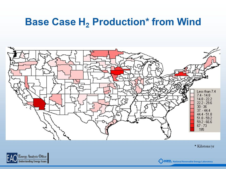 Base Case H 2 Production* from Wind * Kilotons/yr
