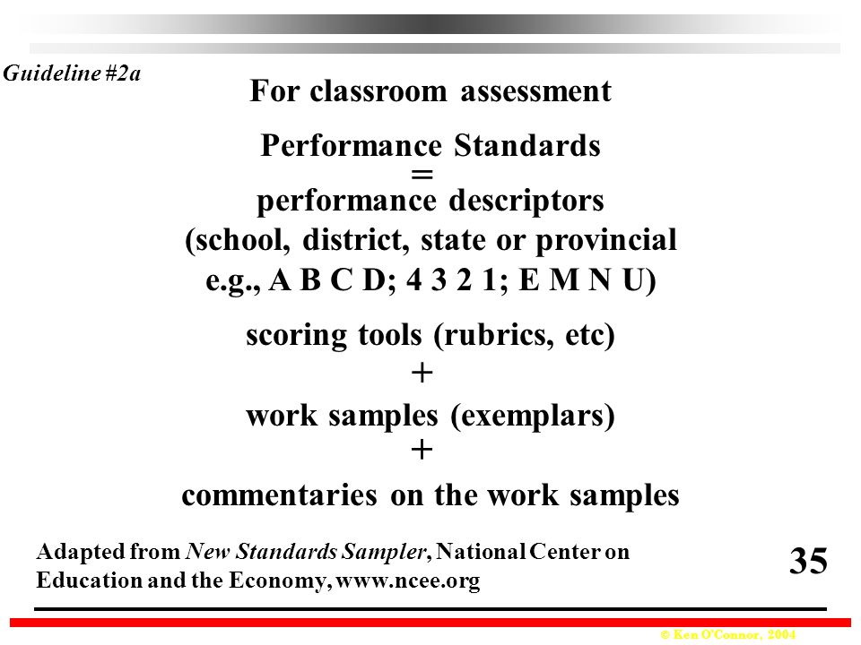 © Ken O'Connor, 2004 For classroom assessment Performance Standards performance descriptors (school, district, state or provincial e.g., A B C D; 4 3 2 1; E M N U) scoring tools (rubrics, etc) work samples (exemplars) commentaries on the work samples Guideline #2a Adapted from New Standards Sampler, National Center on Education and the Economy, www.ncee.org + + = 35