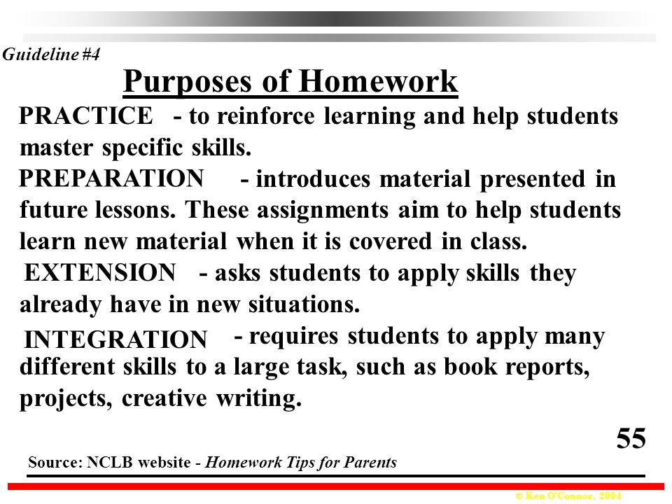 © Ken O'Connor, 2004 Purposes of Homework Guideline #4 - to reinforce learning and help students master specific skills.
