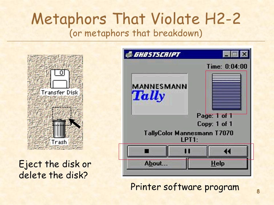 8 Metaphors That Violate H2-2 (or metaphors that breakdown) Printer software program Eject the disk or delete the disk?