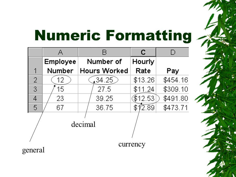 Numeric Formatting general currency decimal