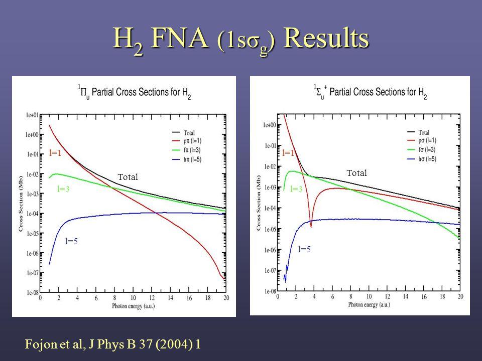 H 2 FNA (1sσ g ) Results Total l=1 l=3 l=5 Fojon et al, J Phys B 37 (2004) 1