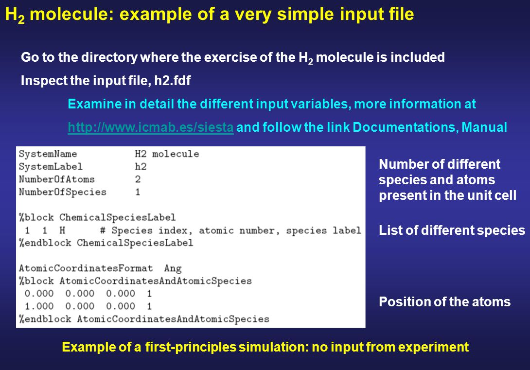 H 2 molecule: example of a very simple input file Go to the directory where the exercise of the H 2 molecule is included Number of different species and atoms present in the unit cell List of different species Position of the atoms Example of a first-principles simulation: no input from experiment Inspect the input file, h2.fdf Examine in detail the different input variables, more information at http://www.icmab.es/siestahttp://www.icmab.es/siesta and follow the link Documentations, Manual