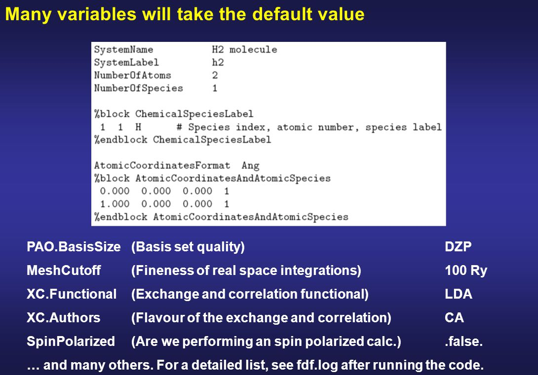 Many variables will take the default value PAO.BasisSize(Basis set quality) DZP MeshCutoff(Fineness of real space integrations)100 Ry XC.Functional(Exchange and correlation functional)LDA XC.Authors(Flavour of the exchange and correlation)CA SpinPolarized(Are we performing an spin polarized calc.).false.