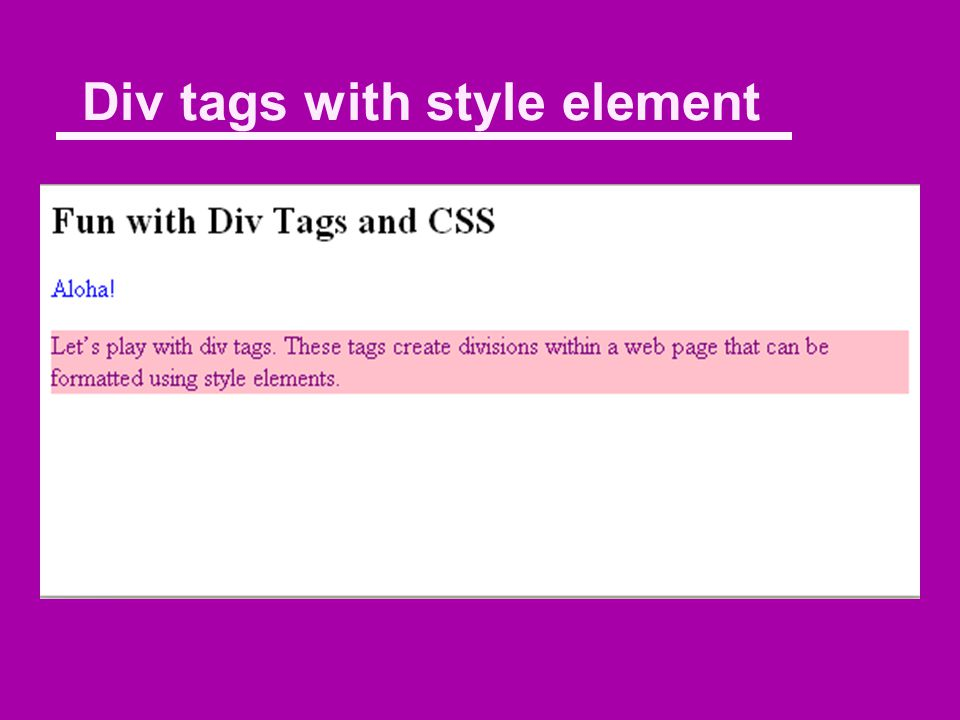 The tag Fun with Div Tags and CSS Aloha. Let's play with div tags.