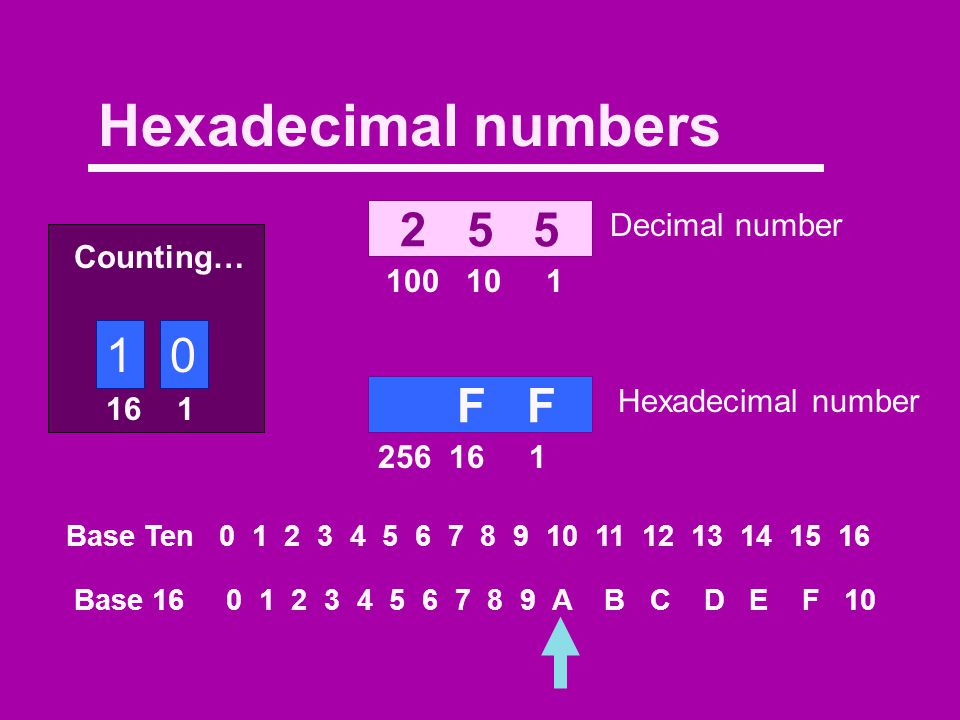 Binary numbers 0 0 7 100 10 1 1 1 1 4 2 1 Base Ten 0 1 2 3 4 5 6 7 8 9 10 Base Two 0 1 10 11 100 101 110 111 1000 1001 1010