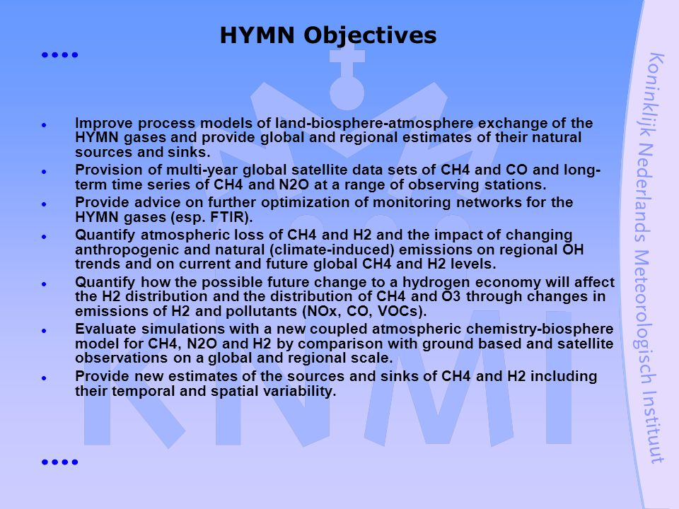 HYMN Objectives Improve process models of land-biosphere-atmosphere exchange of the HYMN gases and provide global and regional estimates of their natural sources and sinks.