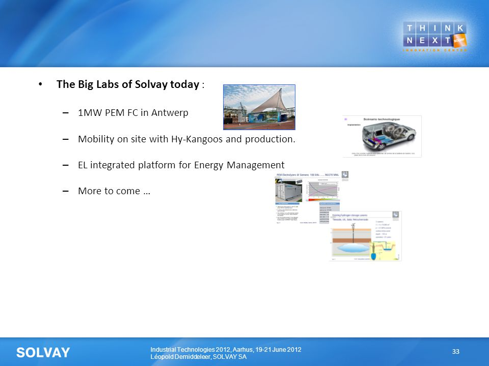 Industrial Technologies 2012, Aarhus, 19-21 June 2012 Léopold Demiddeleer, SOLVAY SA The Big Labs of Solvay today : – 1MW PEM FC in Antwerp – Mobility on site with Hy-Kangoos and production.