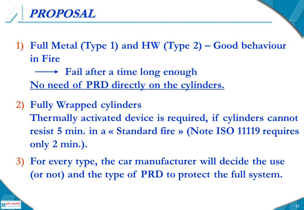 17 PROPOSAL 1)Full Metal (Type 1) and HW (Type 2) – Good behaviour in Fire Fail after a time long enough No need of PRD directly on the cylinders.