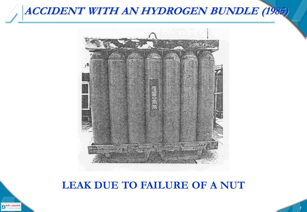 7 ACCIDENT WITH AN HYDROGEN BUNDLE (1985) LEAK DUE TO FAILURE OF A NUT