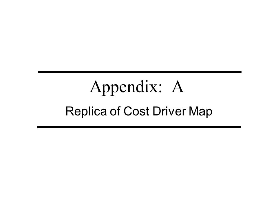 Appendix: A Replica of Cost Driver Map
