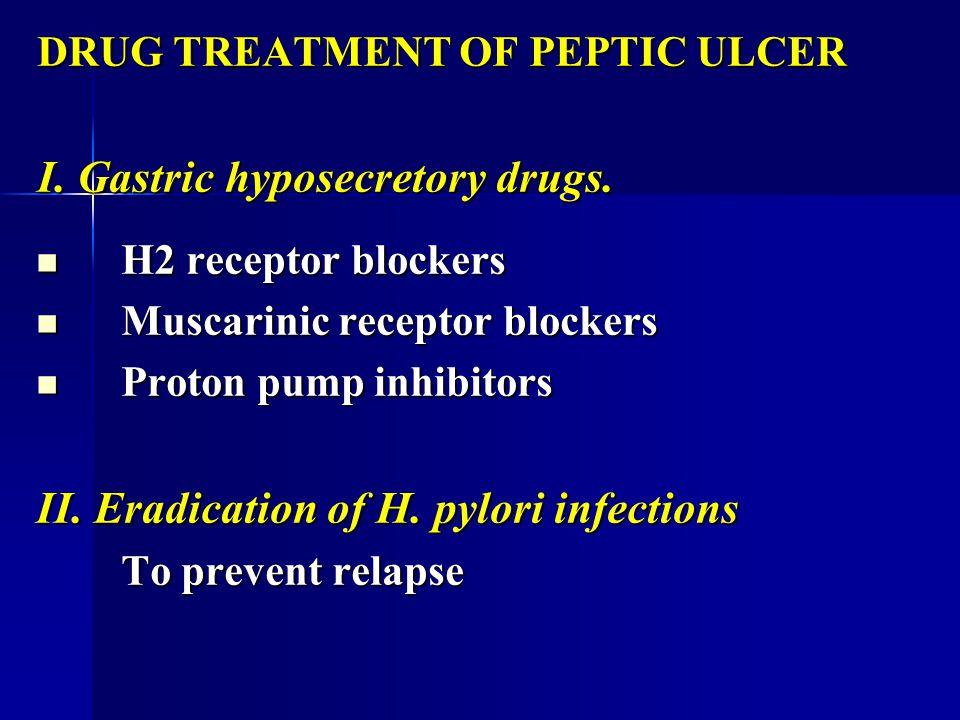 DRUG TREATMENT OF PEPTIC ULCER I. Gastric hyposecretory drugs. H2 receptor blockers H2 receptor blockers Muscarinic receptor blockers Muscarinic recep
