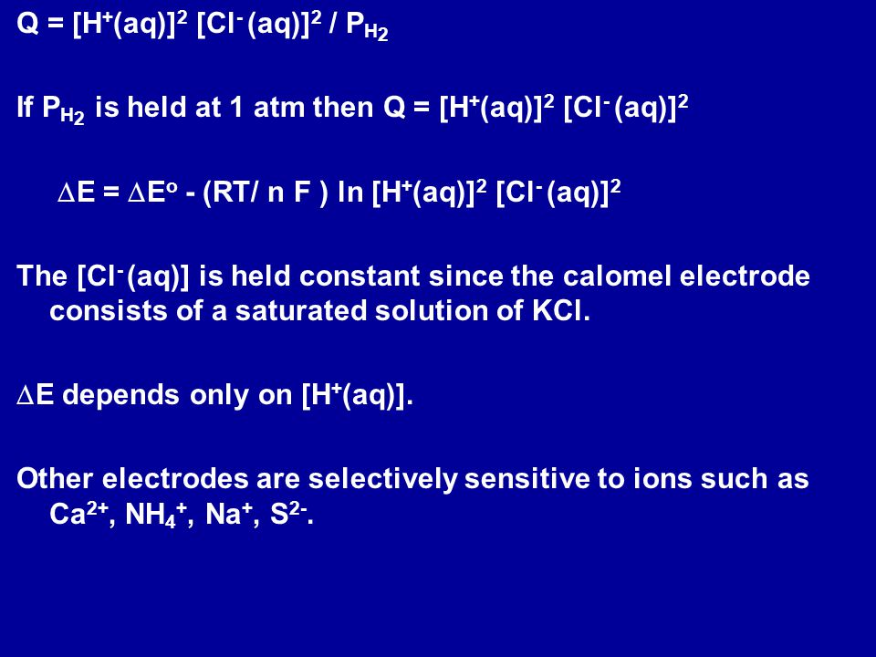 A galvanic cell is constructed of a Cu electrode dipped into a 1 M solution of Cu 2+ and a hydrogen gas electrode (P H2 = 1 atm) in a solution of unknown pH.