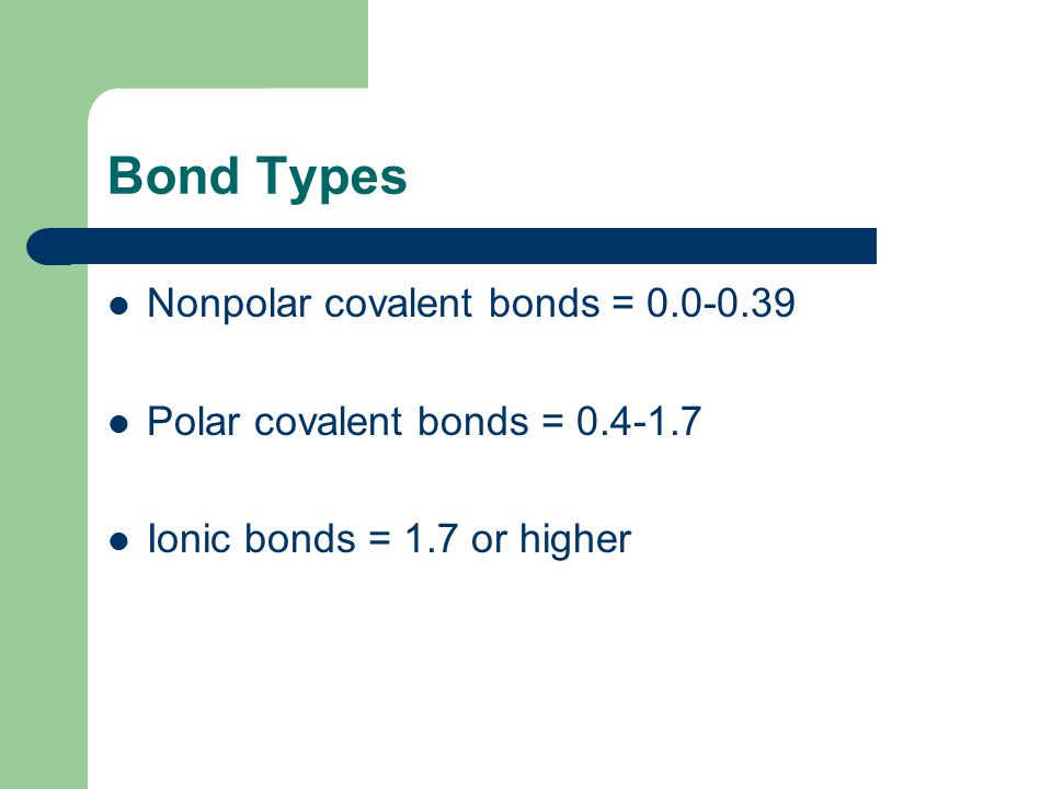 Bond Types Nonpolar covalent bonds = 0.0-0.39 Polar covalent bonds = 0.4-1.7 Ionic bonds = 1.7 or higher