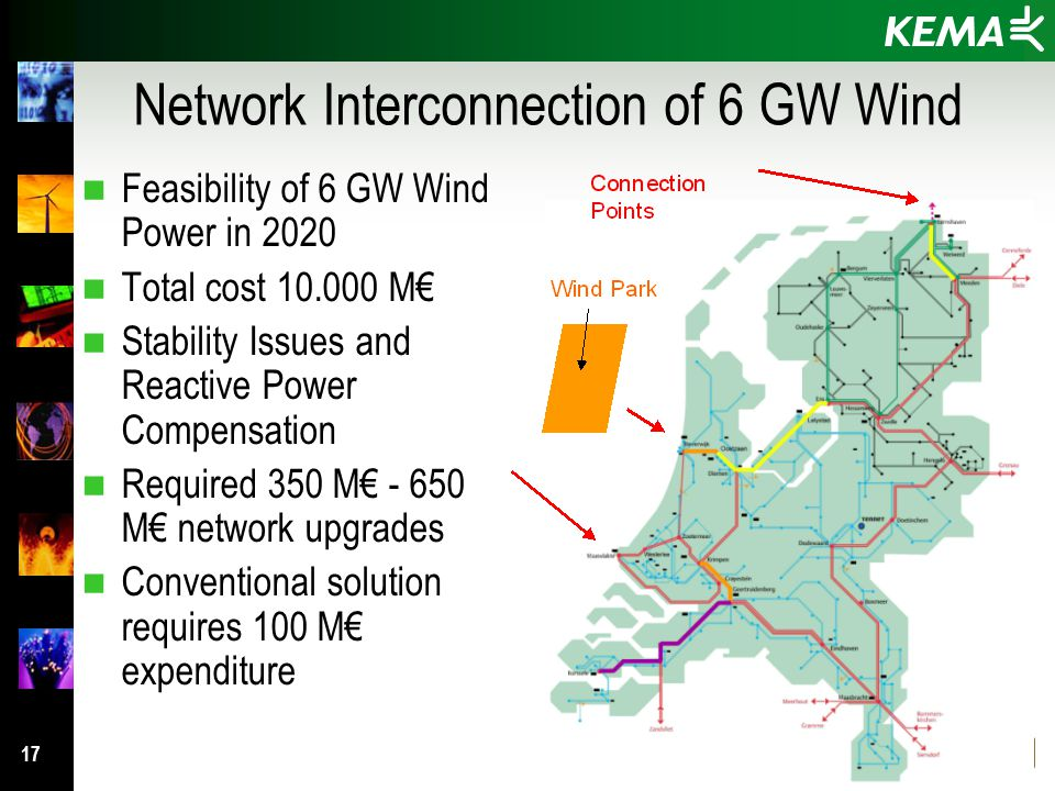 17 Network Interconnection of 6 GW Wind n Feasibility of 6 GW Wind Power in 2020 n Total cost 10.000 M€ n Stability Issues and Reactive Power Compensation n Required 350 M€ - 650 M€ network upgrades n Conventional solution requires 100 M€ expenditure