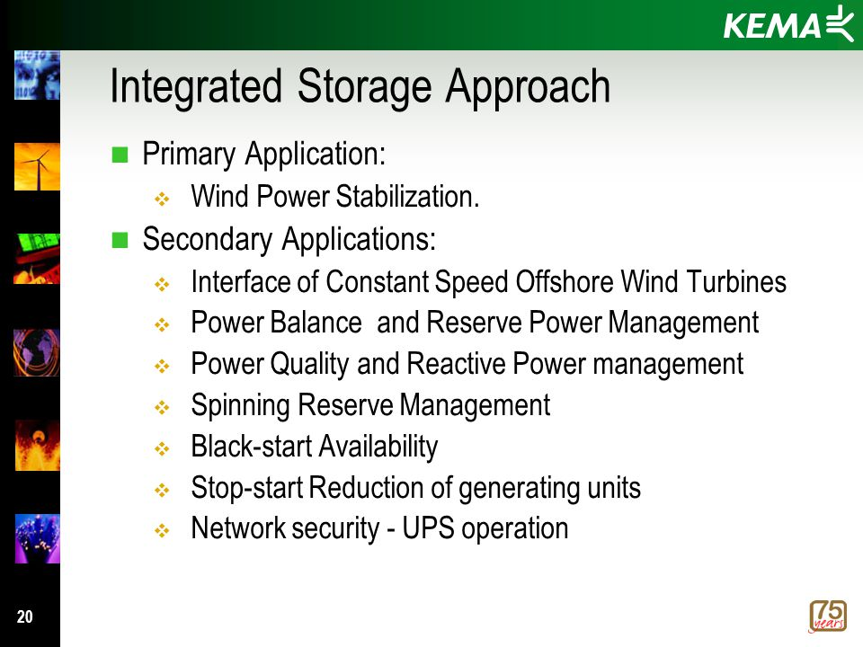 20 Integrated Storage Approach n Primary Application:  Wind Power Stabilization.
