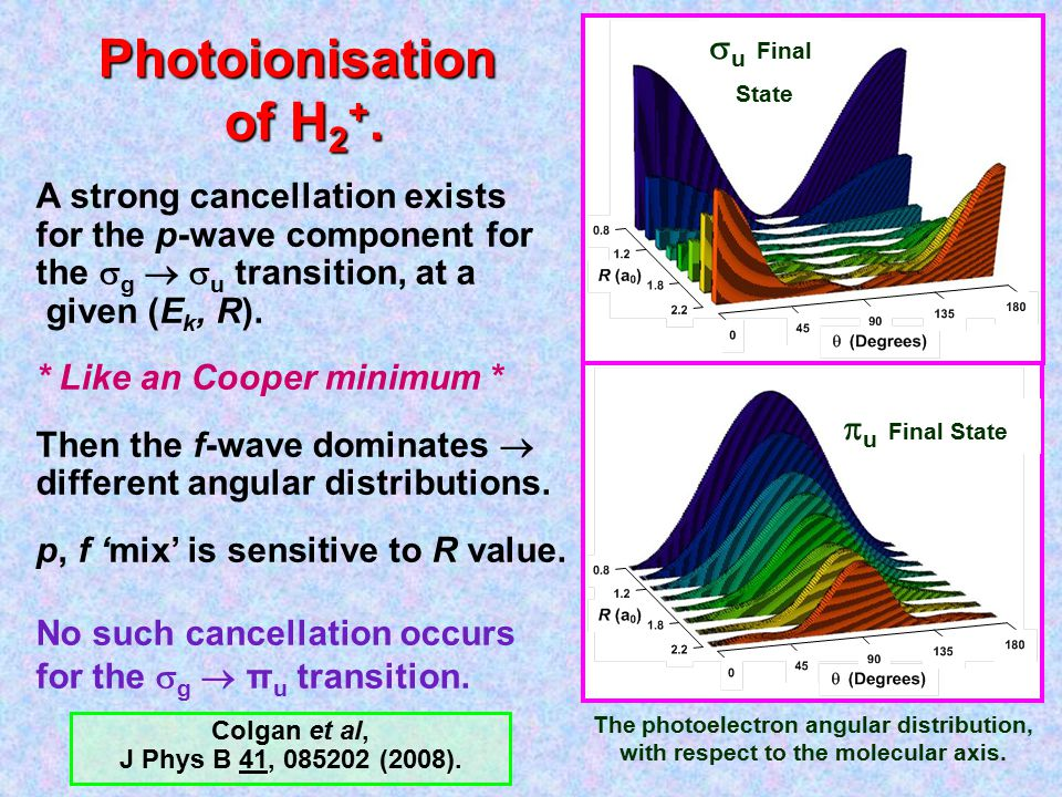 Photoionisation of H 2 +. The photoelectron angular distribution, with respect to the molecular axis.  u Final State A strong cancellation exists for