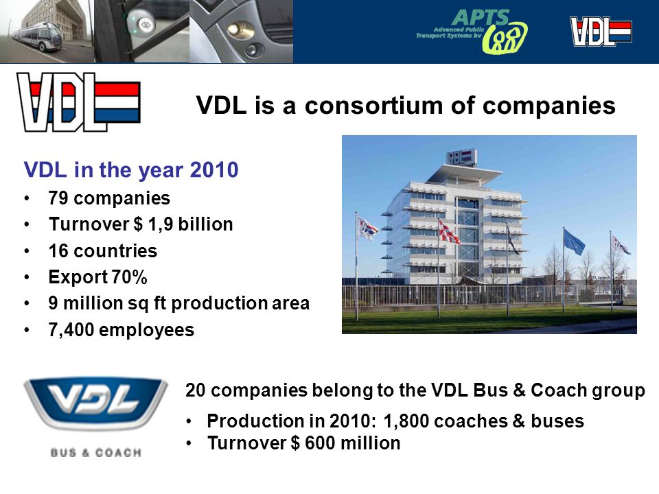 2 VDL is a consortium of companies VDL in the year 2010 79 companies Turnover $ 1,9 billion 16 countries Export 70% 9 million sq ft production area 7,