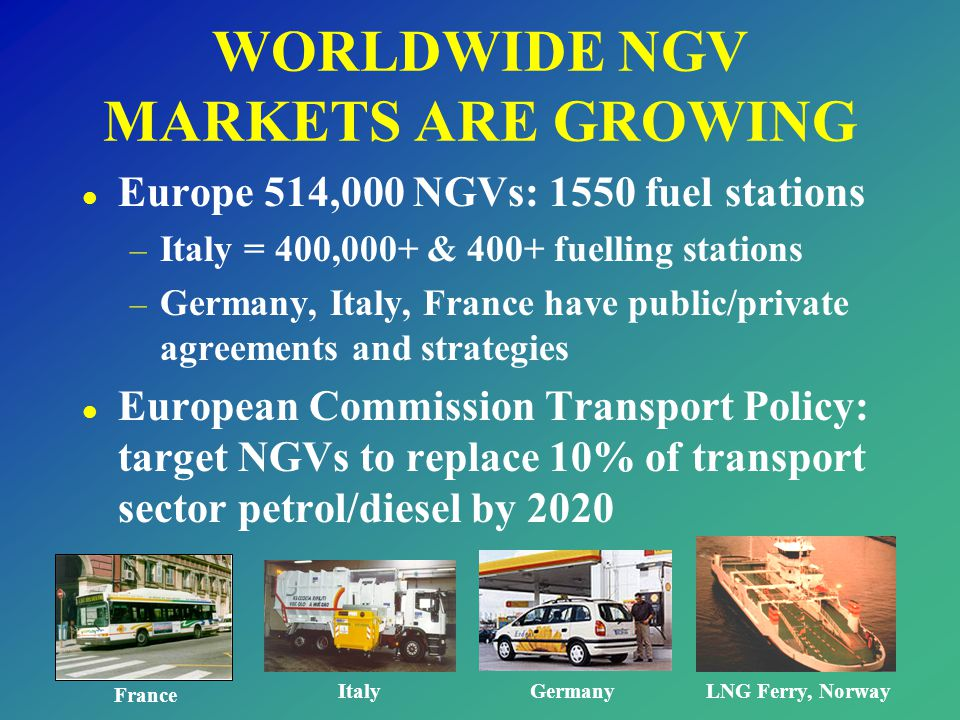 WORLDWIDE NGV MARKETS ARE GROWING l Europe 514,000 NGVs: 1550 fuel stations – Italy = 400,000+ & 400+ fuelling stations – Germany, Italy, France have