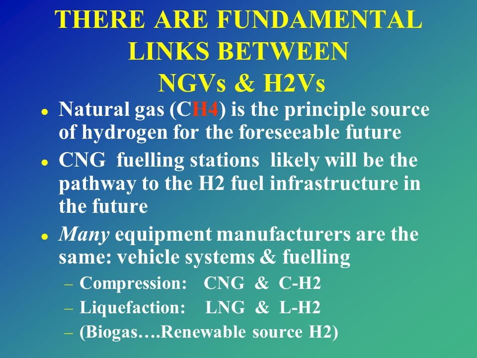 THERE ARE FUNDAMENTAL LINKS BETWEEN NGVs & H2Vs l Natural gas (CH4) is the principle source of hydrogen for the foreseeable future l CNG fuelling stat