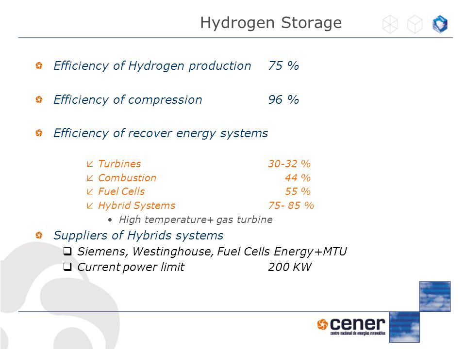 Hydrogen Storage Efficiency of Hydrogen production 75 % Efficiency of compression 96 % Efficiency of recover energy systems  Turbines30-32 %  Combustion 44 %  Fuel Cells 55 %  Hybrid Systems75- 85 % High temperature+ gas turbine Suppliers of Hybrids systems  Siemens, Westinghouse, Fuel Cells Energy+MTU  Current power limit200 KW