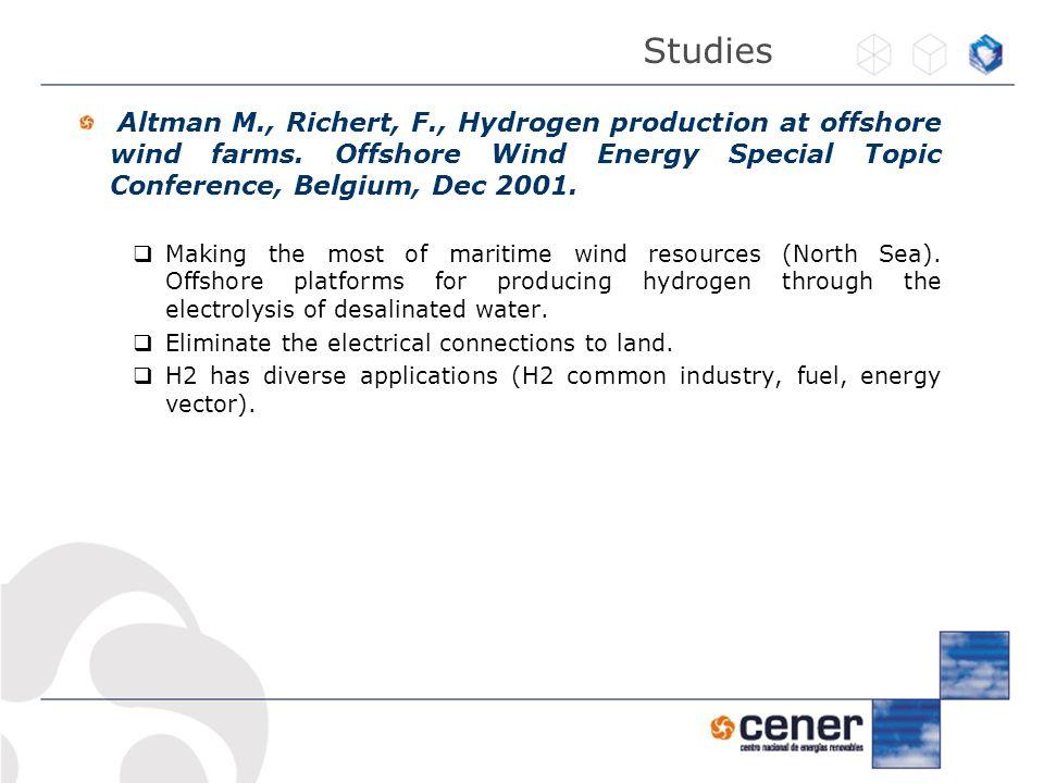 Altman M., Richert, F., Hydrogen production at offshore wind farms.
