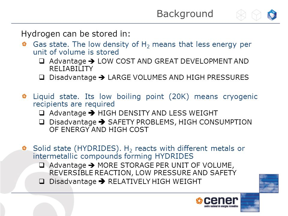 Background Hydrogen can be stored in: Gas state.