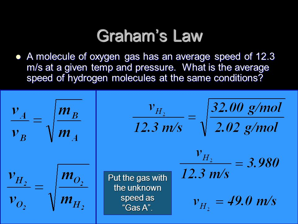 A molecule of oxygen gas has an average speed of 12.3 m/s at a given temp and pressure.