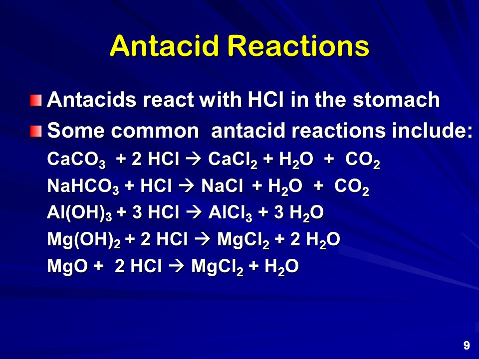 Effect of Antacids In addition to neutralizing excess stomach acid they may be helpful in preventing inflammation, relieving pain and discomfort, and allowing the mucus layer in the stomach lining to heal.