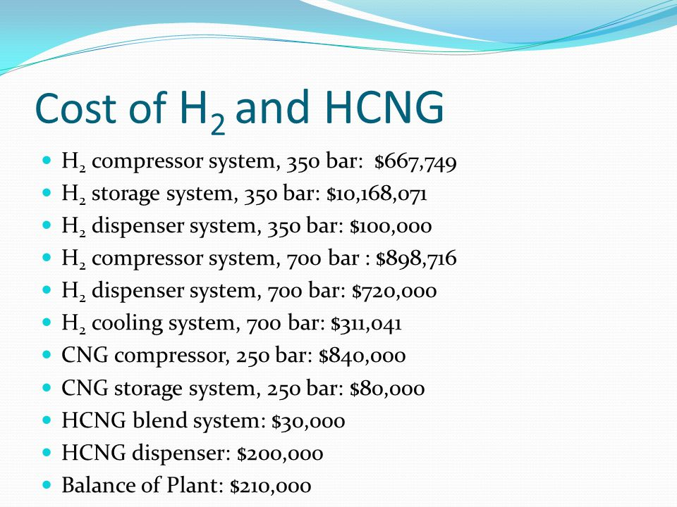 Cost of H 2 and HCNG H 2 compressor system, 350 bar: $667,749 H 2 storage system, 350 bar: $10,168,071 H 2 dispenser system, 350 bar: $100,000 H 2 com