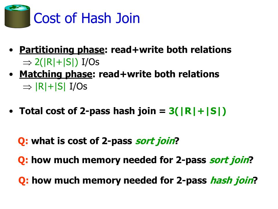 Have B memory buffers Want to hash relation of size N An important optimization to hashing N # passes B B2B2 1 2 If B < N < B2, will have unused memory … cost N 3N